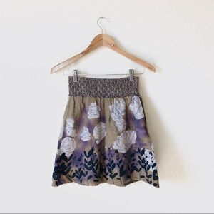 Free People Smocked Floral Linen Skirt
